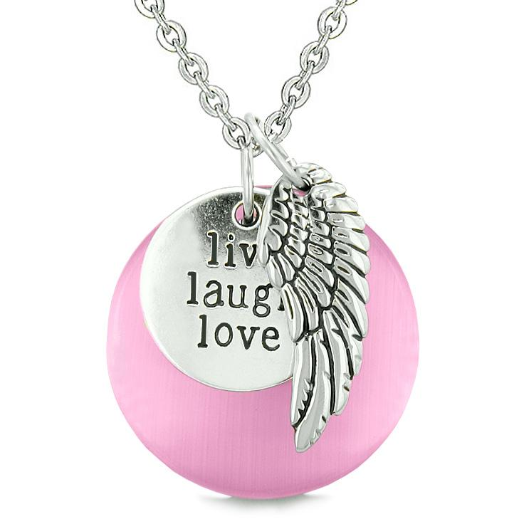 Guardian Angel Wing Live Laugh Love Inspirational Magic Amulet Pink Simulated Cats Eye Necklace
