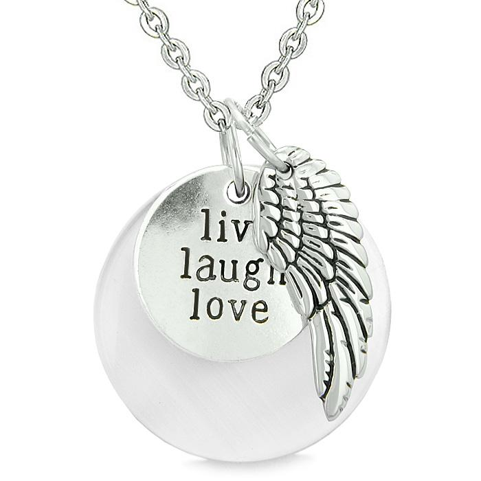 Guardian Angel Wing Live Laugh Love Inspirational Magic Amulet White Simulated Cats Eye Necklace