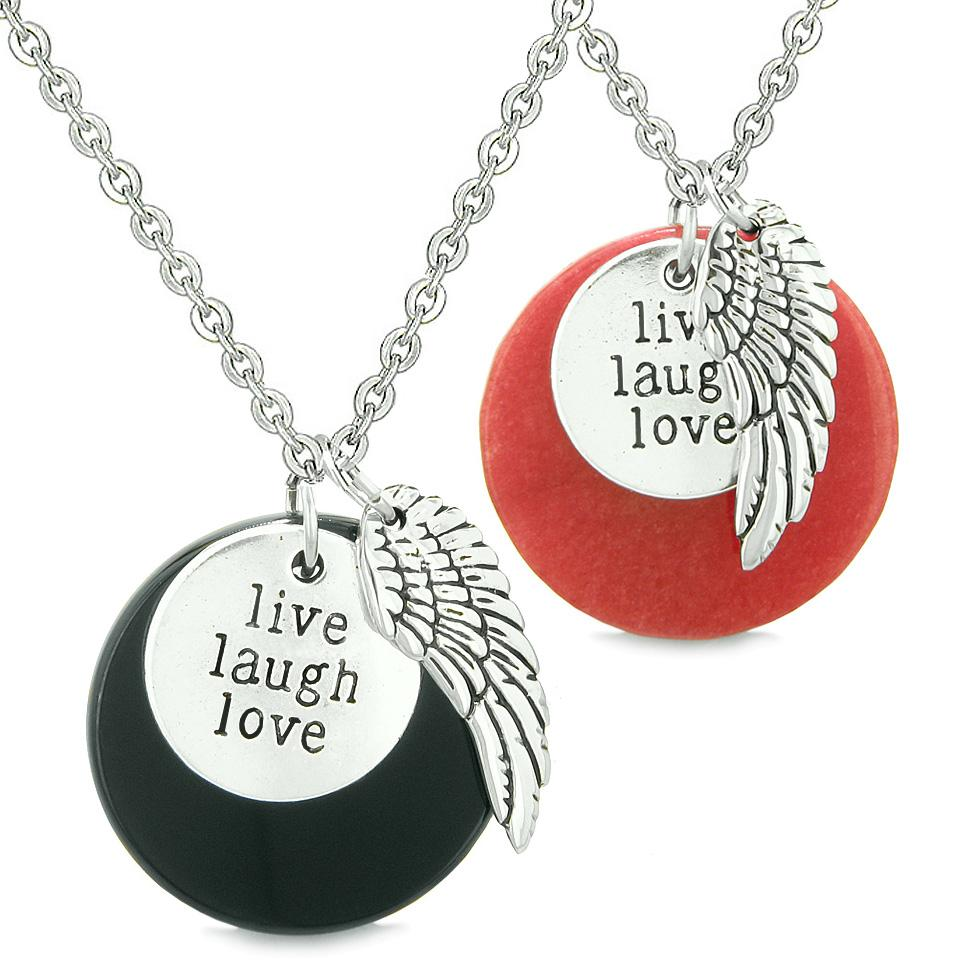 Guardian Angel Wing Live Laugh Love Inspirational Amulet Couples Set Agate Red Quartz Necklaces