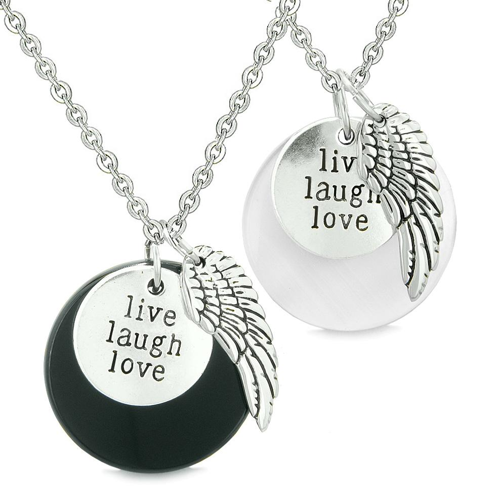 Guardian Angel Wing Live Laugh Love Amulet Couples Agate White Simulated Cats Eye Necklaces