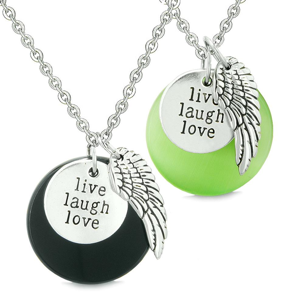 Guardian Angel Wing Live Laugh Love Amulet Couples Agate Green Simulated Cats Eye Necklaces