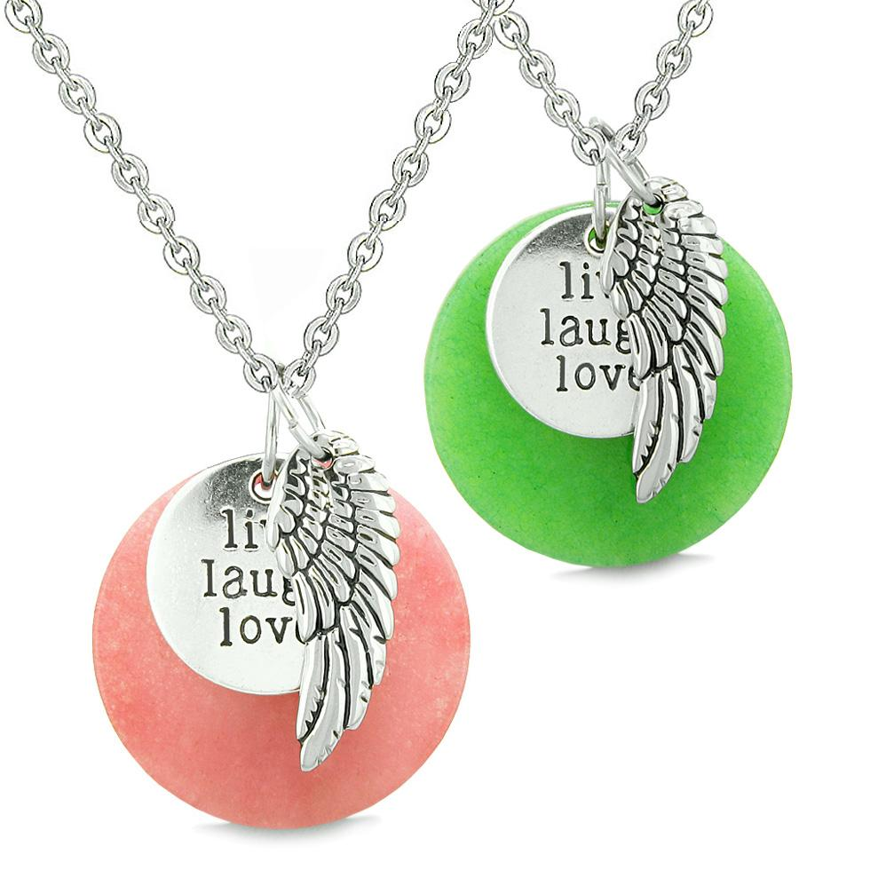 Guardian Angel Wing Live Laugh Love Inspirational Amulets Couples Set Pink Green Quartz Necklaces