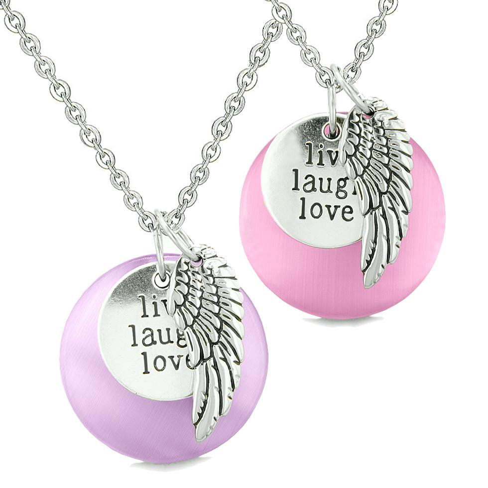 Guardian Angel Wing Live Laugh Love Amulets Couples Pink Purple Simulated Cats Eye Necklaces