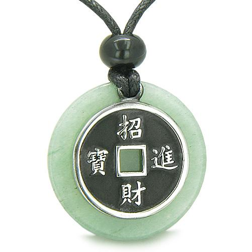 Amulet Lucky Coin Charm Medallion Aventurine Power Antiqued Pendant Necklace