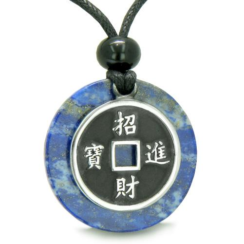 Amulet Lucky Coin Charm MedalliLapis Lazuli ProtectiAntiqued Pendant Necklace