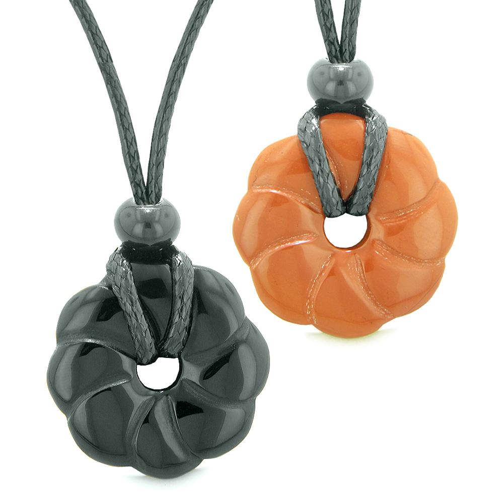 Magic Lotus Flower Lucky 30mm Donut Amulets Black Agate Red Jasper Love Couples Best Friends Necklaces