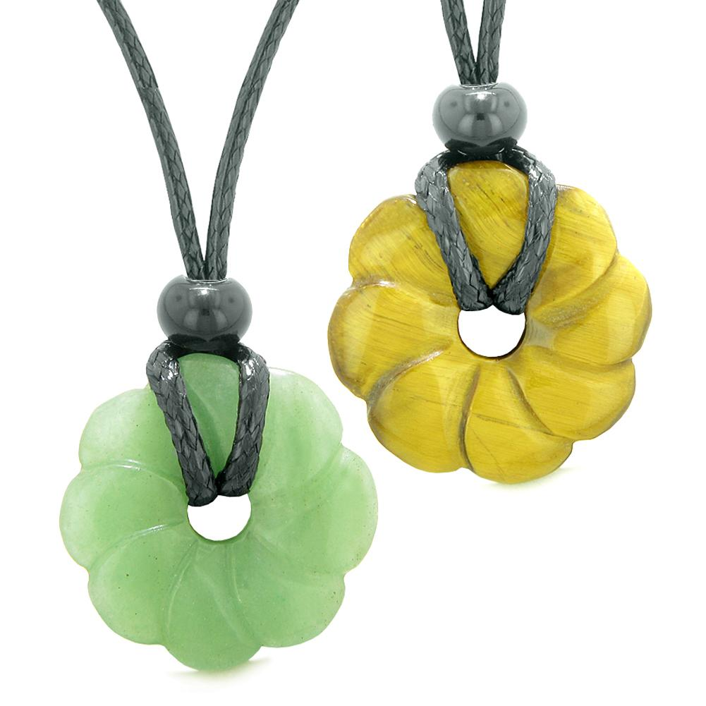 Magic Lotus Flower Lucky 30mm Donut Amulets Green Quartz Tiger Eye Love Couples Best Friends Necklaces