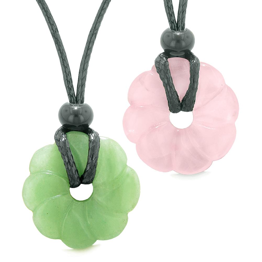 Magic Lotus Flower Lucky 30mm Donut Amulets Green and Rose Quartz Love Couples Best Friends Necklaces