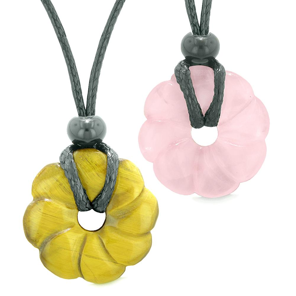 Magic Lotus Flower Lucky 30mm Donut Amulets Tiger Eye Rose Quartz Love Couples Best Friends Necklaces