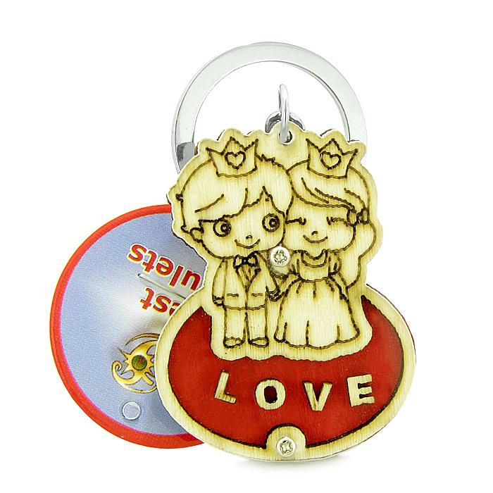 Cute Prince Princess Love Couples Lucky Charm Protection Wooden Keychain Key Ring Blessing