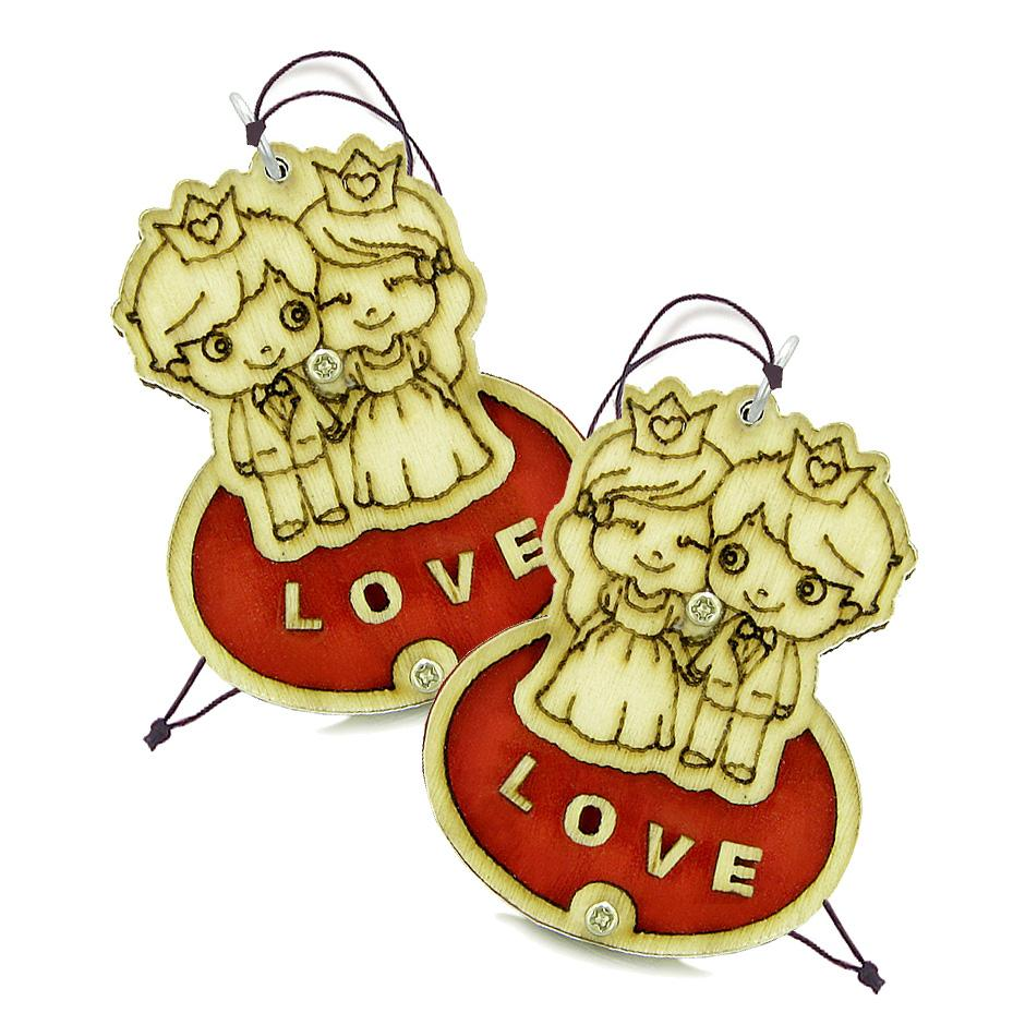 Cute Prince Princess Protection Powers Love Couples Best Friends Wooden Car Charm Amulet Blessings