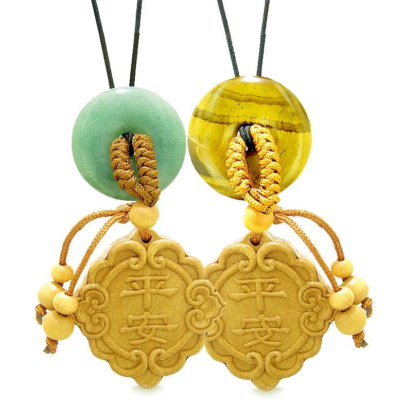 Good Luck Car Charm Home Decor Green Quartz Tiger Eye Donuts Love Couples Best Friends Amulets