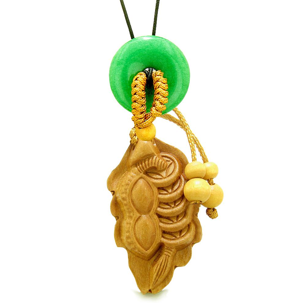 Lucky Bean Fortune Coins Car Charm or Home Decor Green Quartz Donut Protection Powers Magic Amulet