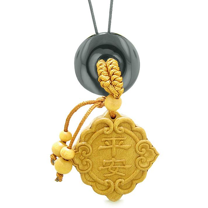 Good Luck Magic Car Charm or Home Decor Black Agate Lucky Coin Donut Protection Powers Amulet