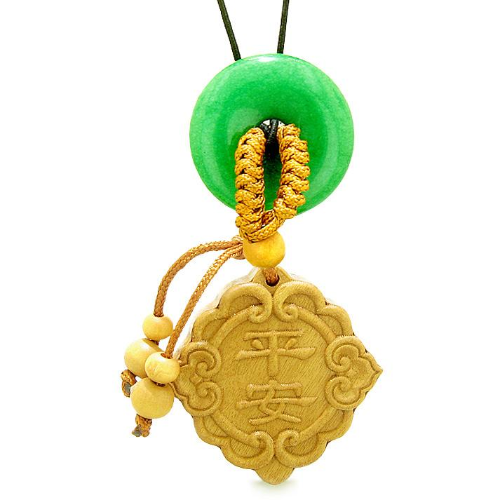 Good Luck Magic Car Charm or Home Decor Green Quartz Lucky Coin Donut Protection Powers Amulet