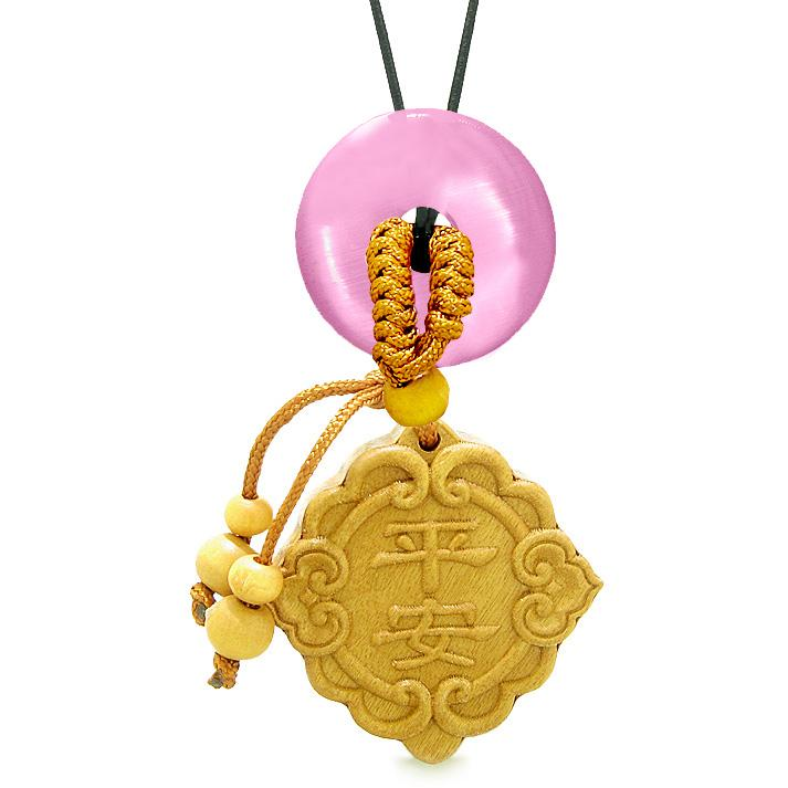 Good Luck Magic Car Charm or Home Decor Pink Simulated Cats Eye Lucky Coin Donut Protection Amulet