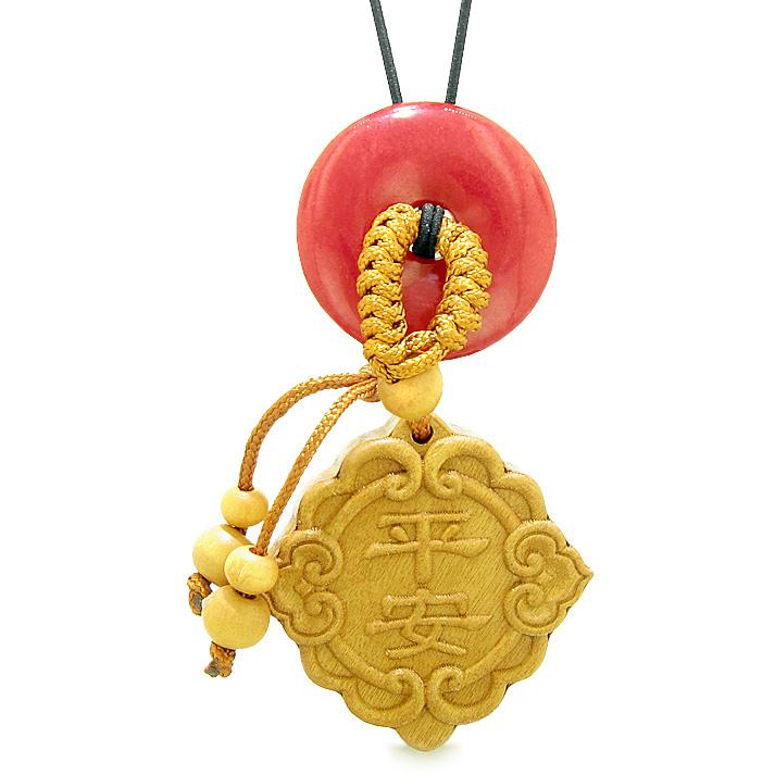 Good Luck Magic Car Charm or Home Decor Cherry Red Quartz Lucky Coin Donut Protection Powers Amulet