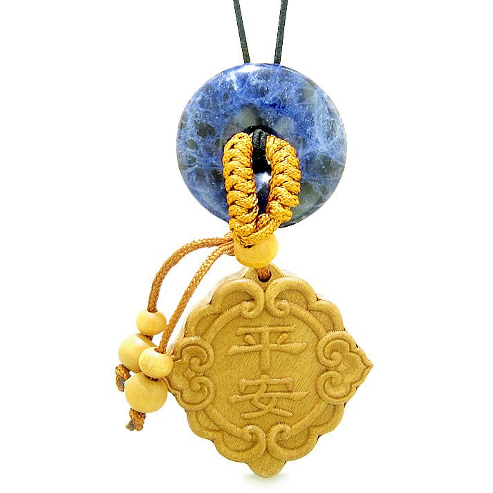 Good Luck Magic Car Charm or Home Decor Sodalite Lucky Coin Donut Protection Powers Amulet