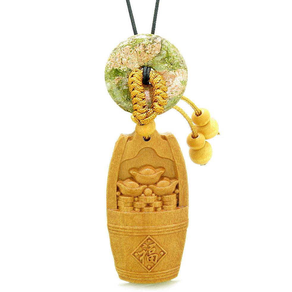 Money Bucket Wulu Coins Car Charm or Home Decor Unakite Donut Protection Powers Magic Amulet