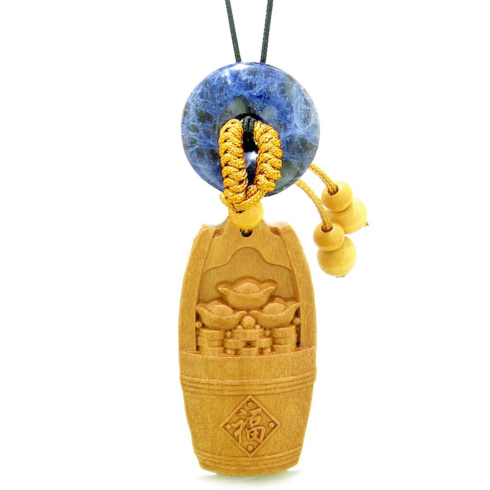 Money Bucket Wulu Coins Car Charm or Home Decor Sodalite Donut Protection Powers Magic Amulet
