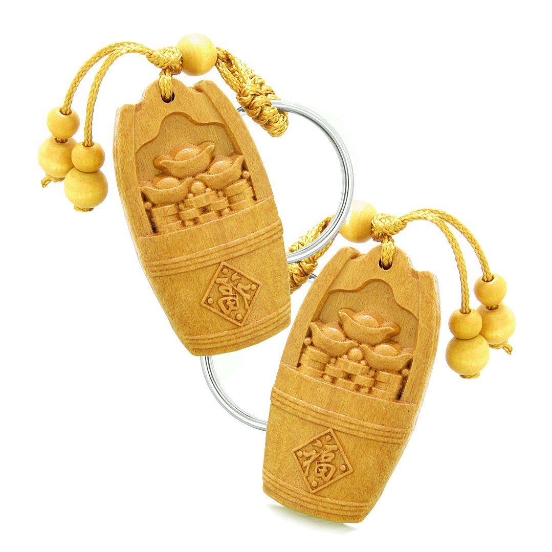 Amulet Money Bucket Wulu Lucky Coins Charms Good Luck Powers Feng Shui Keychain Set Blessings