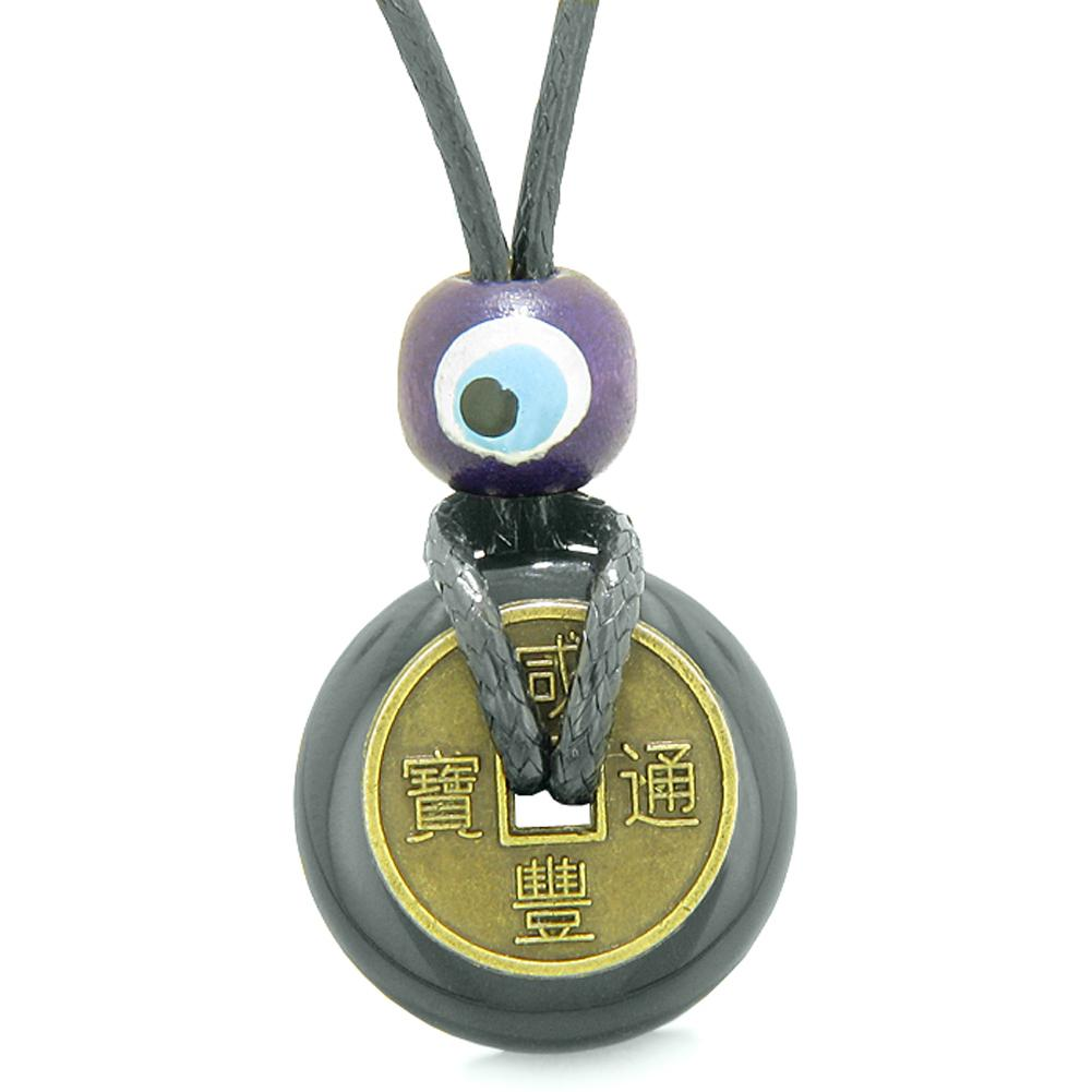 Small Tiny Antiqued Style Lucky Coin Donut Charm Amulet Black Agate Magic Powers Pendant Necklace