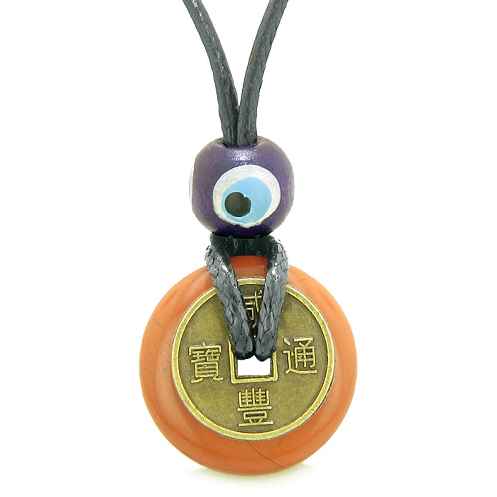 Small Tiny Antiqued Style Lucky Coin Donut Charm Amulet Red Jasper Magic Powers Pendant Necklace