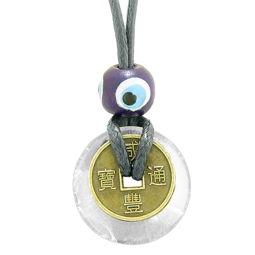 Small Tiny Antiqued Style Lucky Coin Donut Charm Amulet Crystal Quartz Magic Powers Pendant Necklace