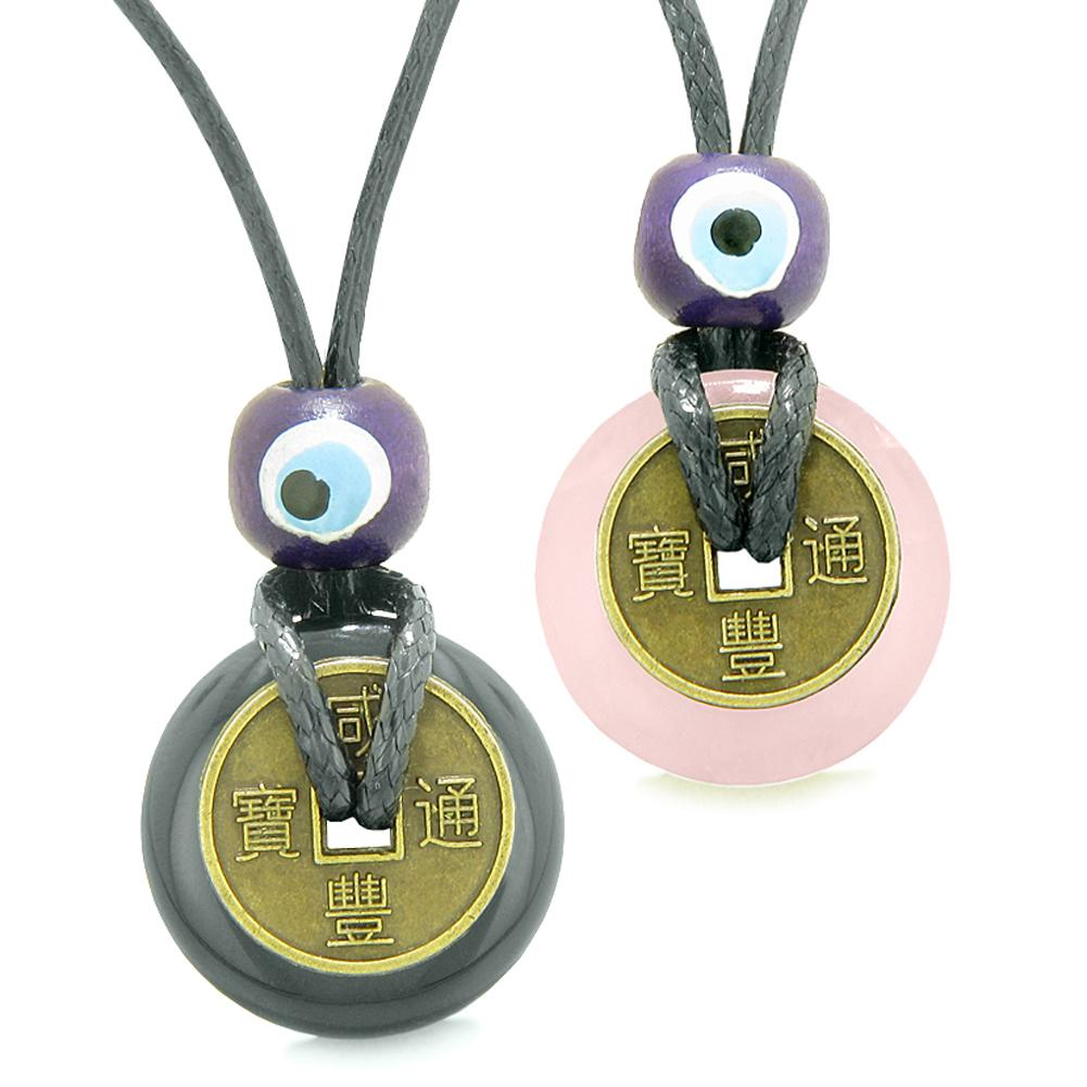 Small Tiny Lucky Coin Donut Amulets Black Agate Rose Quartz Love Couples or Best Friends Necklaces