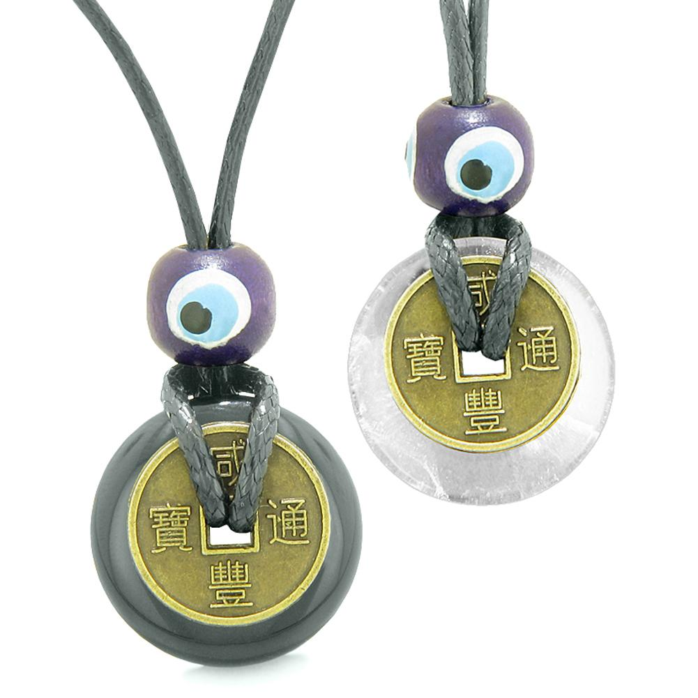 Small Tiny Lucky Coin Donut Amulets Black Agate Crystal Quartz Love Couples or Best Friends Necklaces