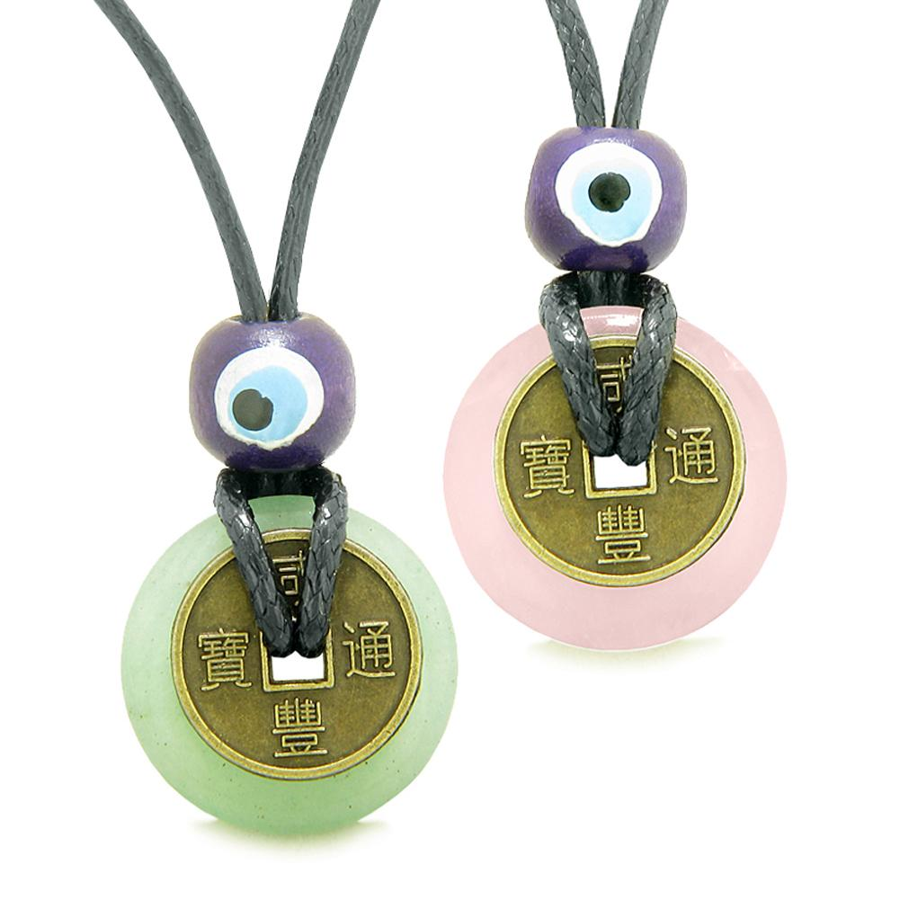 Small Tiny Lucky Coin Donut Amulets Green and Rose Quartz Love Couples or Best Friends Necklaces