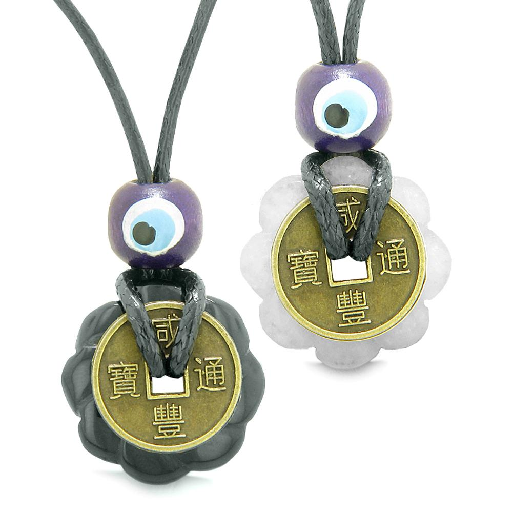 Small Tiny Lucky Coin Lotus Flower Donut Amulets Black Agate White Quartz Love Couples Necklaces