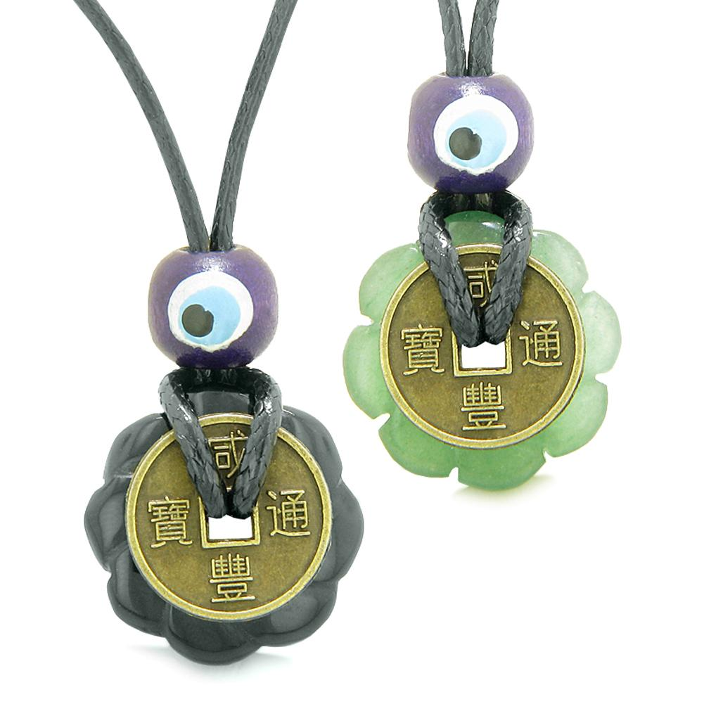 Small Tiny Lucky Coin Lotus Flower Donut Amulets Black Agate Green Quartz Love Couples Necklaces