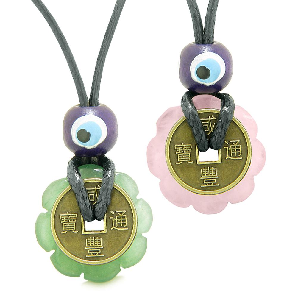 Small Tiny Lucky Coin Lotus Flower Donut Amulets Green and Rose Quartz Love Couples Necklaces