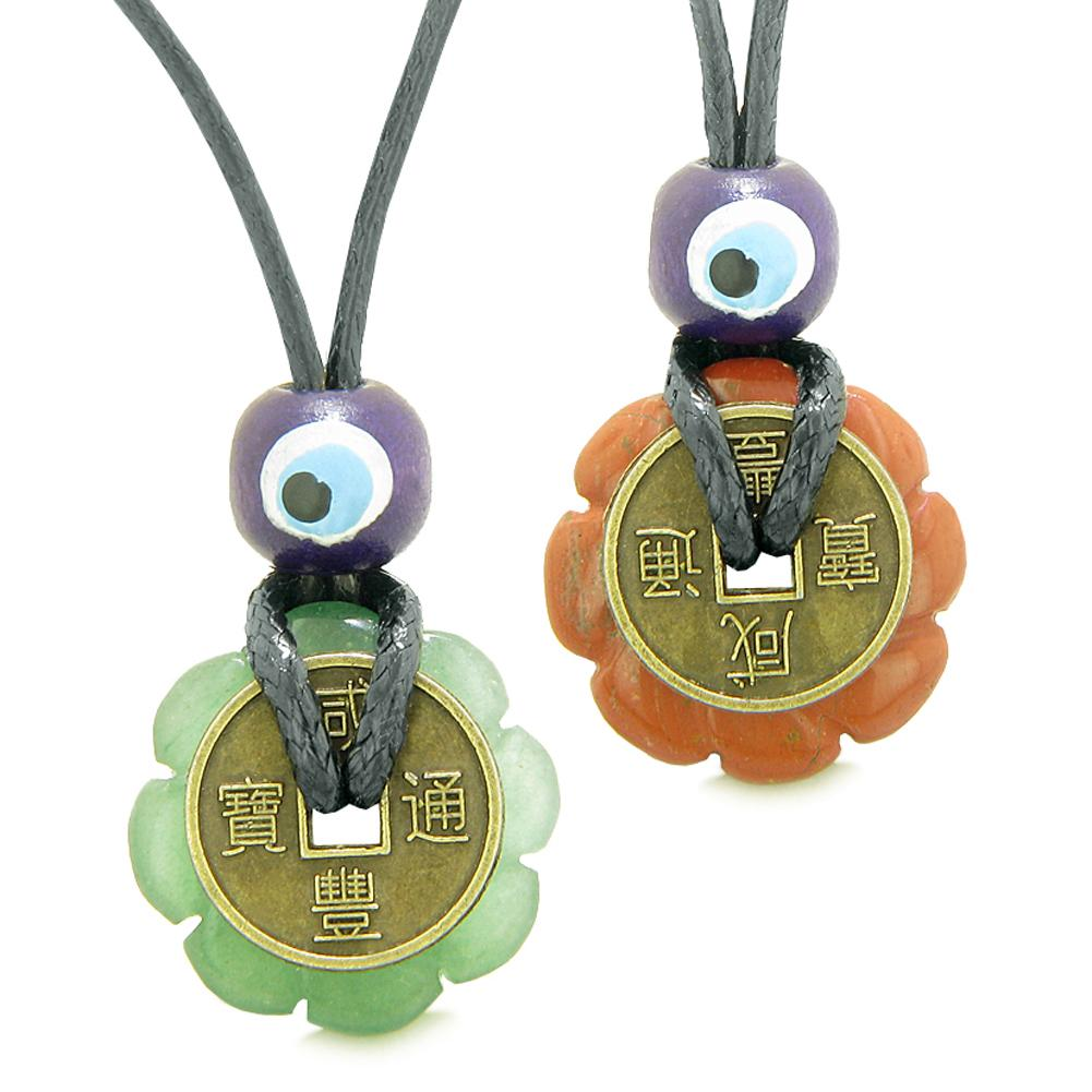 Small Tiny Lucky Coin Lotus Flower Donut Amulets Red Jasper Green Quartz Love Couples Necklaces