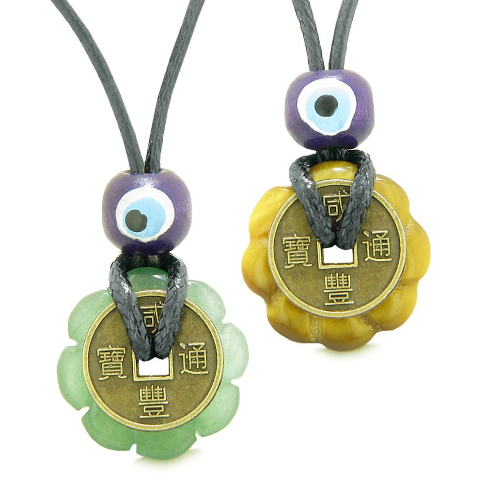 Small Tiny Lucky Coin Lotus Flower Donut Amulets Green Quartz Tiger Eye Love Couples Necklaces