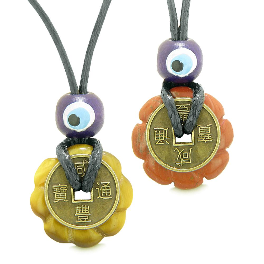 Small Tiny Lucky Coin Lotus Flower Donut Amulets Red Jasper Tiger Eye Love Couples Necklaces