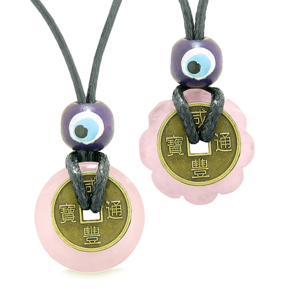 Small Tiny Lucky Coin and Lotus Flower Donut Amulets Rose Quartz Spiritual Powers Love Copules Necklaces