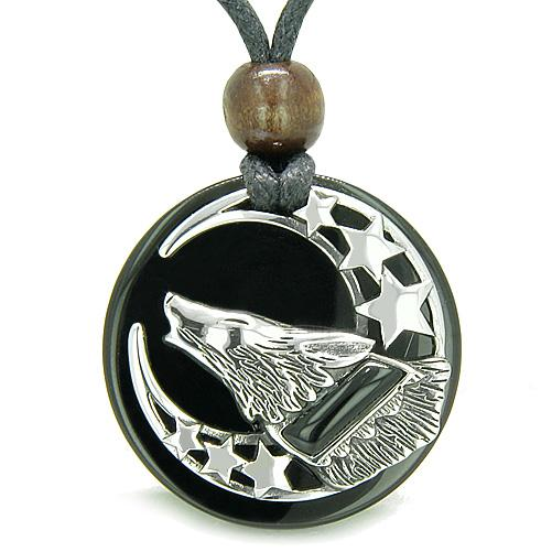 Amulet Black Onyx Howling Wolf Moon Stars Onyx Medallion Spiritual Power of Nature Pendant Necklace
