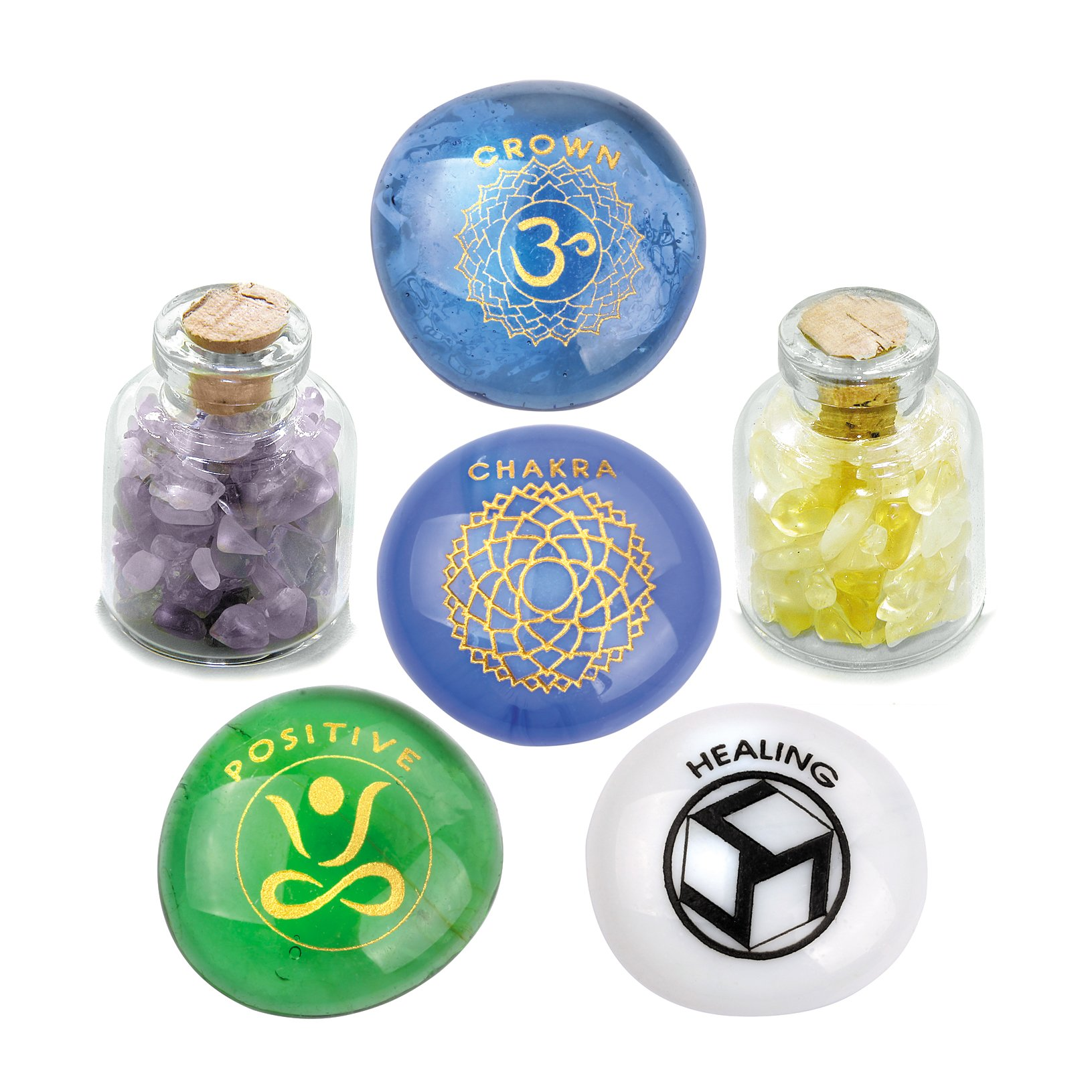 Crown Om Chakra Magic Positive Healing Inspirational Amulets Glass Stones Amethyst Citrine Bottles