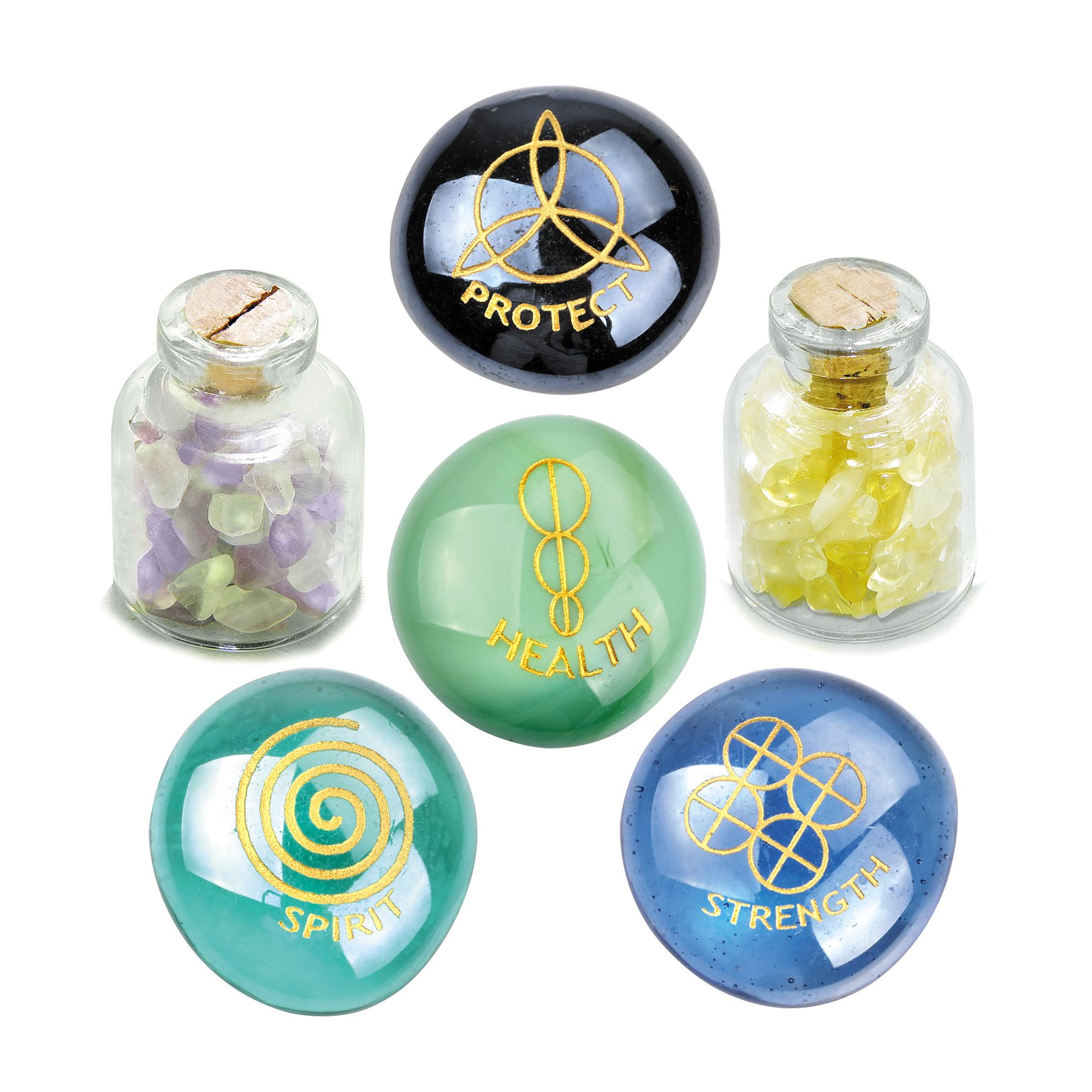 Reiki Magical Healing Spirit Strength ProtectiInspirational Amulets Glass Stones Citrine Fluorite