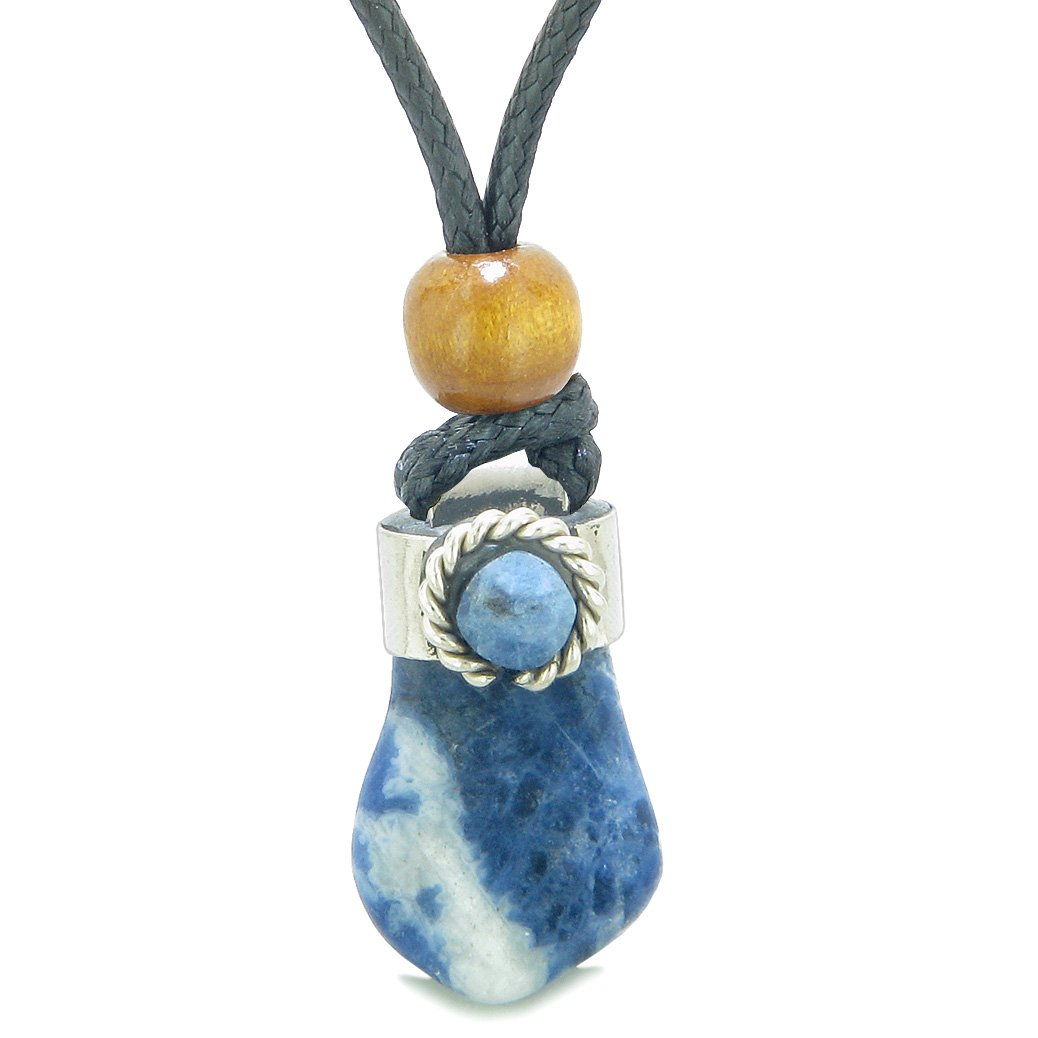 Handcrafted Free Form Tumbled Sodalite and Sodalite Cabochon Amulet Pendant Adjustable Necklace