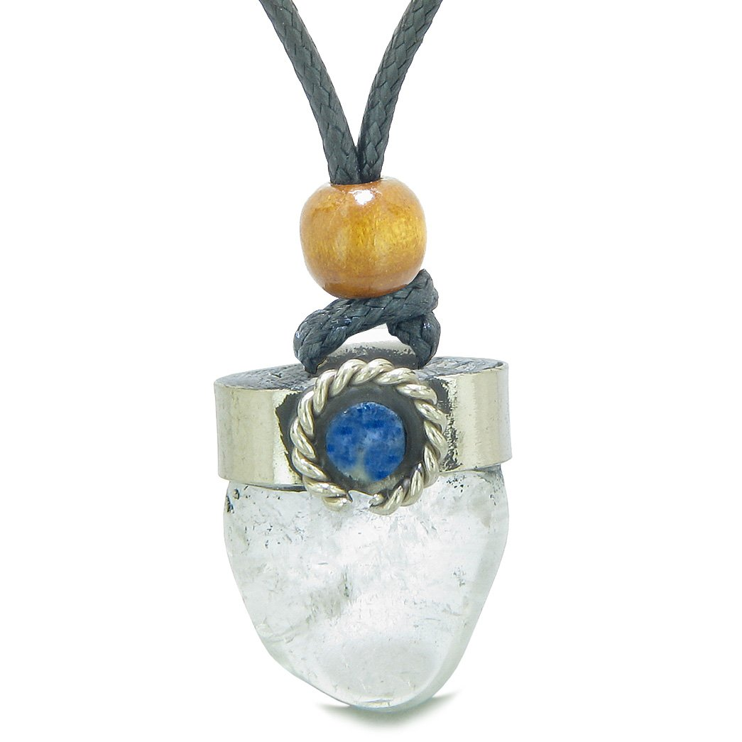 Handcrafted Free Form Tumbled Crystal Quartz and Sodalite Cabochon Amulet Pendant Adjustable Necklace