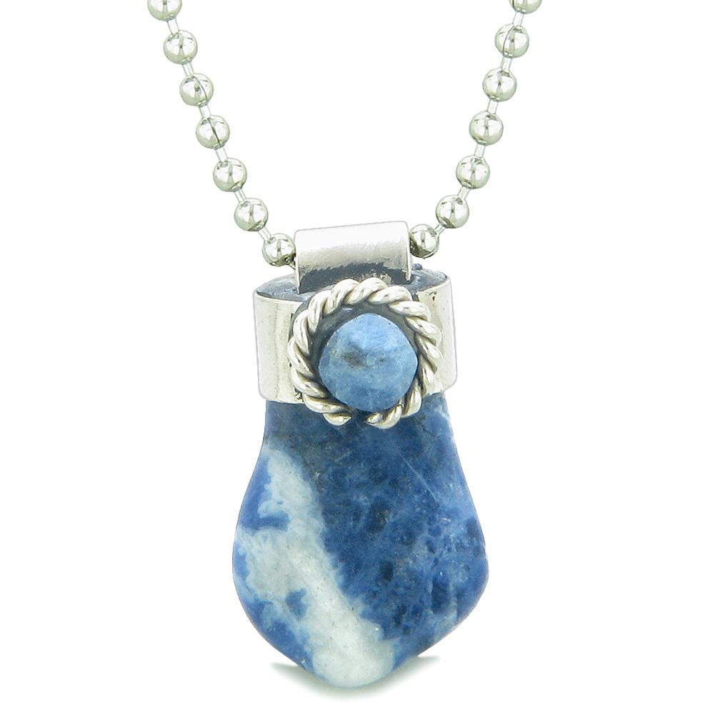 Handcrafted Free Form Tumbled Sodalite and Sodalite Cabochon Amulet 22 Inch Pendant Necklace