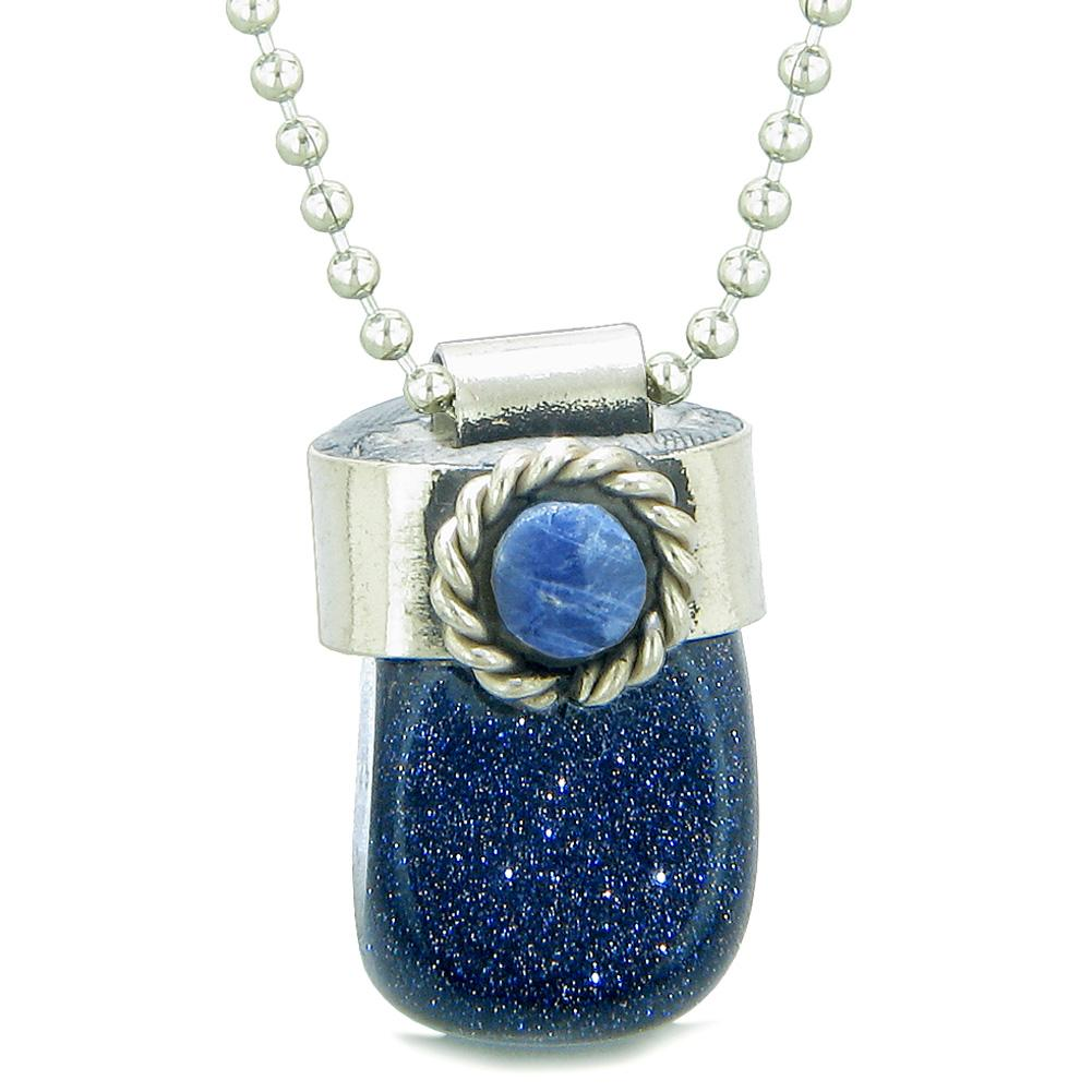 Handcrafted Free Form Tumbled Blue Goldstone and Sodalite Cabochon Amulet 18 Inch Pendant Necklace