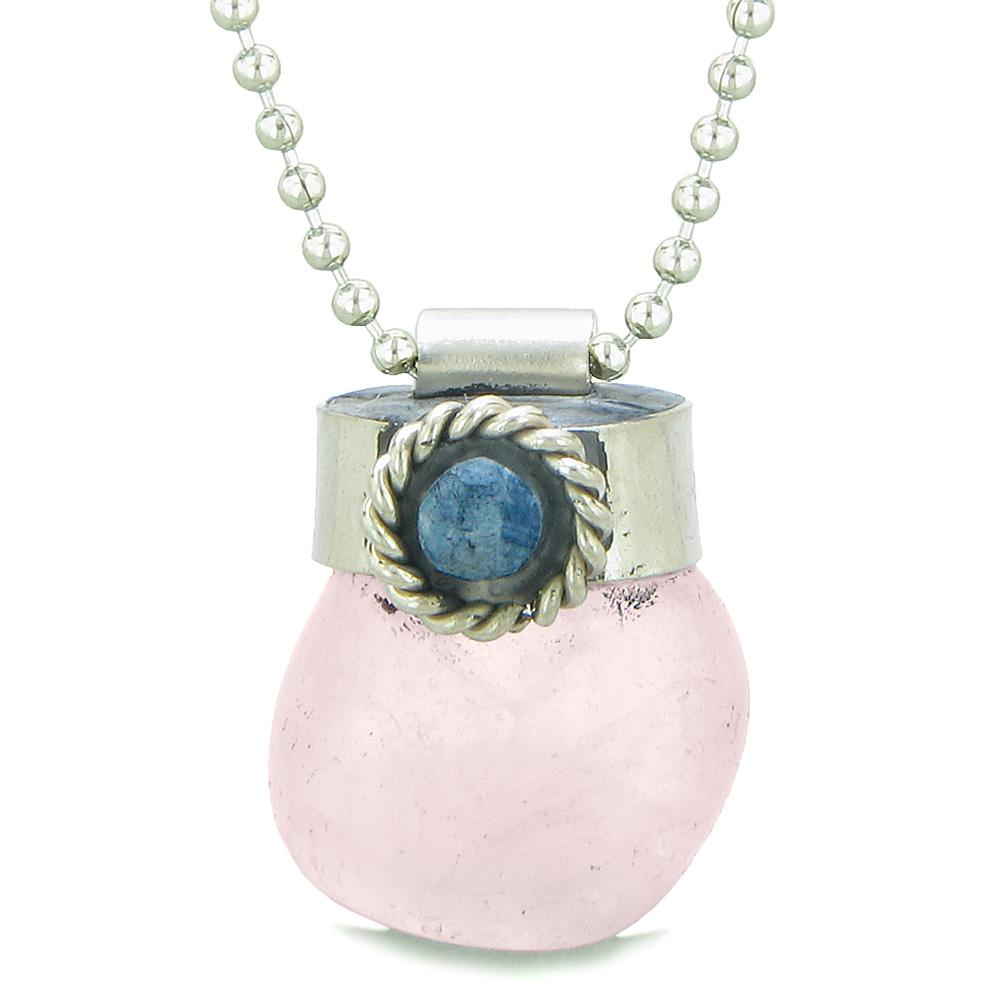 Handcrafted Free Form Tumbled Rose Quartz and Sodalite Cabochon Amulet 22 Inch Pendant Necklace