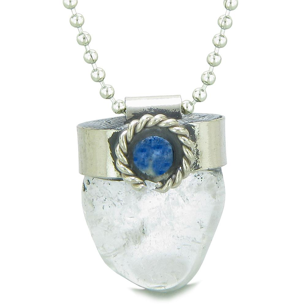 Handcrafted Free Form Tumbled Crystal Quartz and Sodalite Cabochon Amulet 18 Inch Pendant Necklace