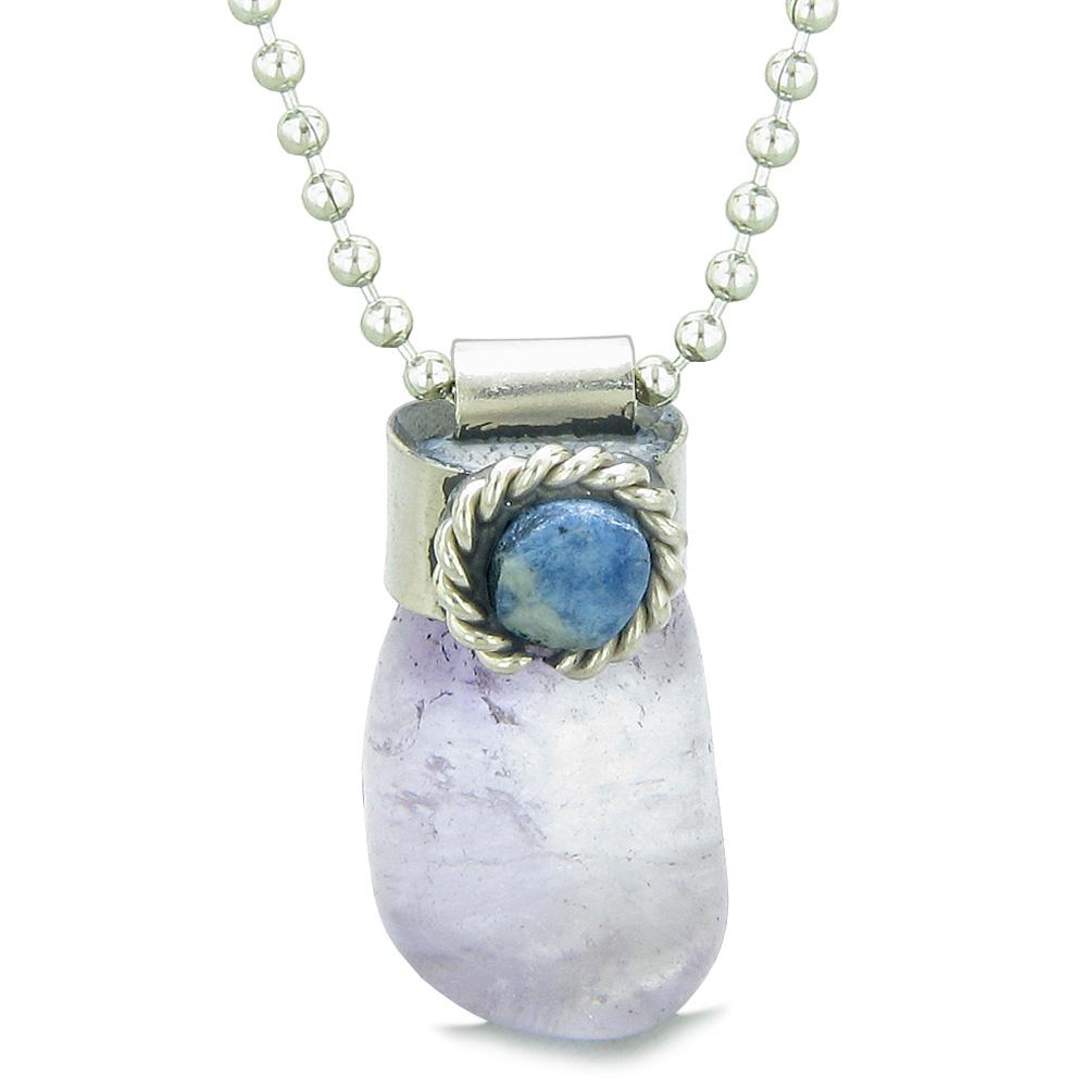 Handcrafted Free Form Tumbled Light Purple Quartz and Sodalite Cabochon Amulet 22 Inch Pendant Necklace