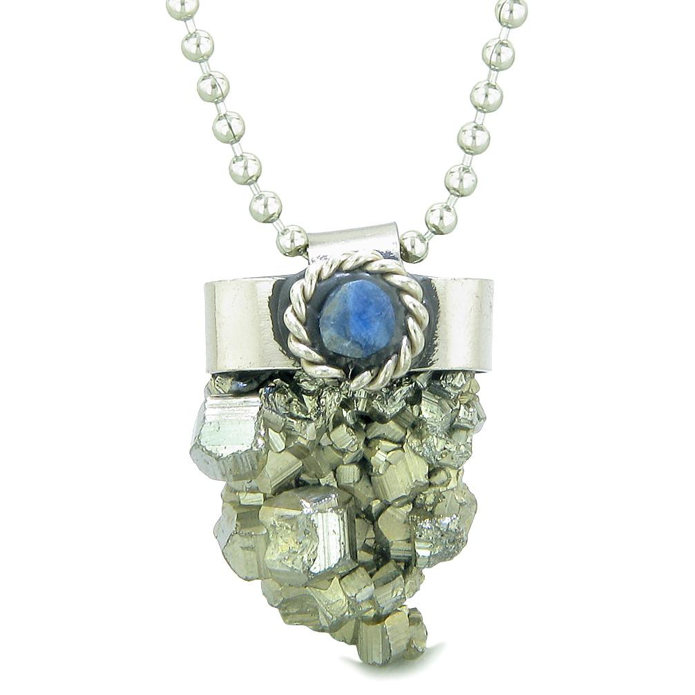 Handcrafted Free Form Rough Pyrite Iron and Sodalite Cabochon Amulet 18 Inch Pendant Necklace