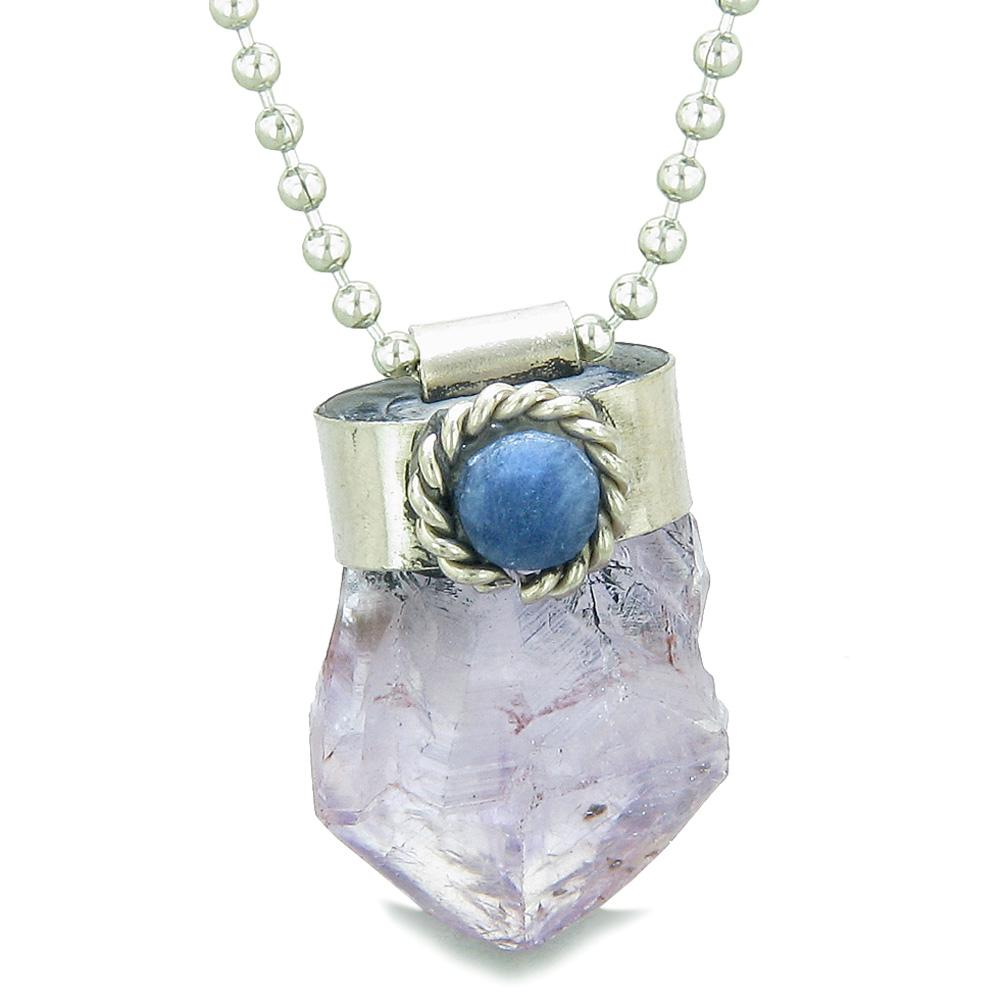 Handcrafted Free Form Rough Light Purple Quartz and Sodalite Cabochon Amulet 22 Inch Pendant Necklace